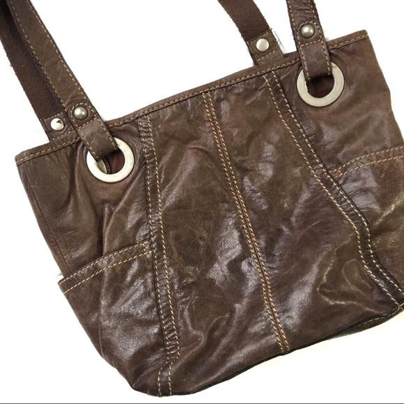 Fossil Handbags - Fossil Brown Genuine Leather Handbag Pockets